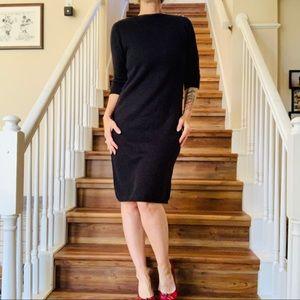Esprit Black Boat Neck Knit Sweater Dress Sz Med